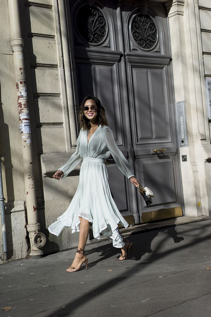 Aimee Song of the blog Song of Style wears a mint dress and rose gold accessories to the Chloe show during Paris Fashion Week