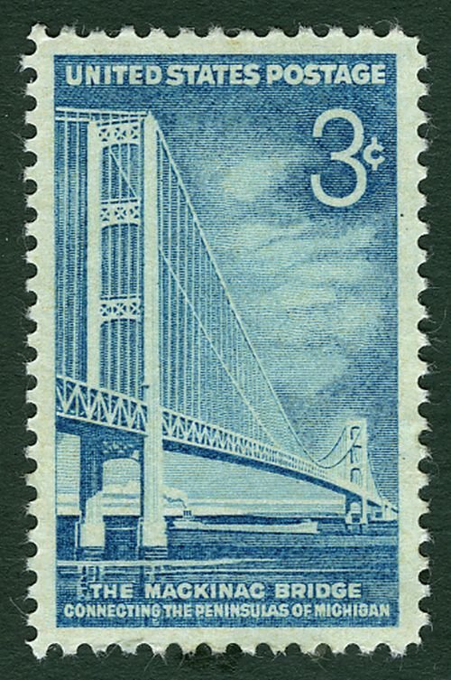 U.S. stamp commemorating the opening of the Mackinac Bridge, which opened to traffic in 1957.