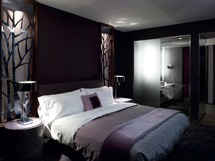 W Hotel Bedroom Interior Design Lighted Wall Niche W Decorative Metal Screen Design