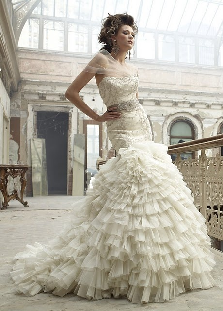 Lazaro beautiful ruffles if only i had 7k to spend on a for How much to spend on wedding dress