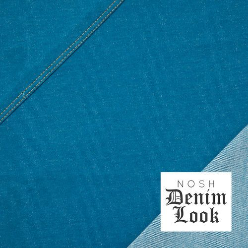 Denim Look Jersey, Petrol Blue. 96% Organic Cotton, 4% Elastane