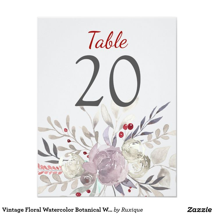 Vintage Floral Watercolor Botanical Wedding Table Card Delicate vintage watercolor flowers, romantic garden wedding table number card.