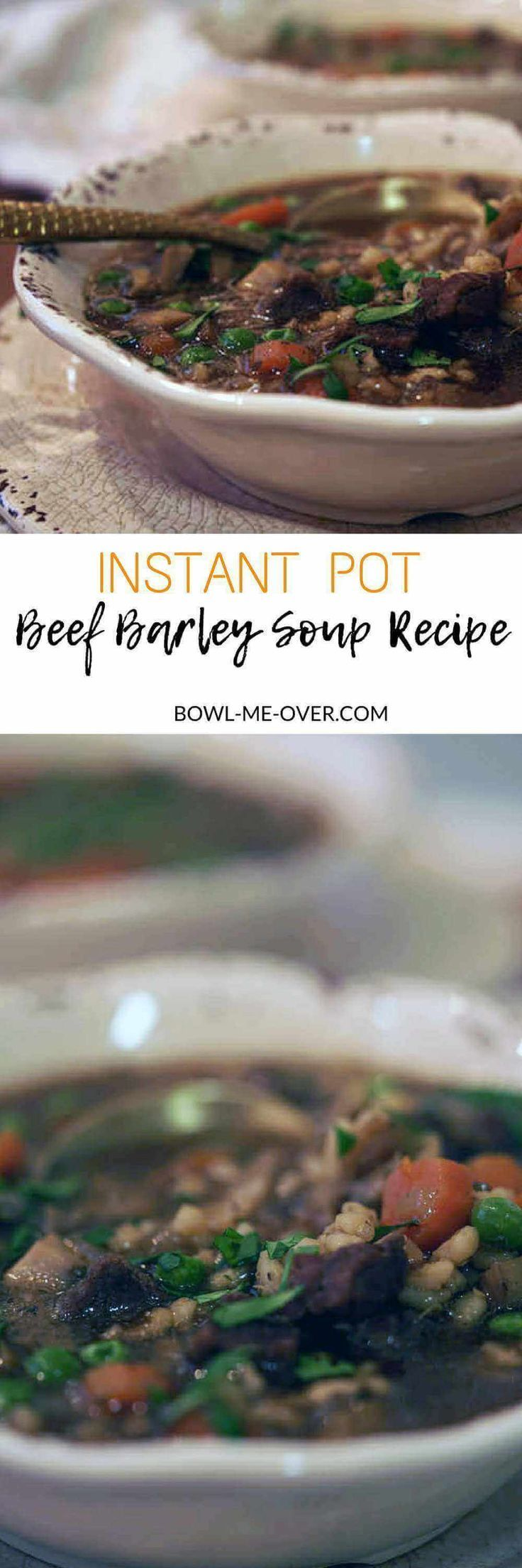 If you love slowly simmered tender beef, barley and vegetables, this Beef Barley Soup Recipe will give you all the flavor in less than an hour! This is a big beefy soup loaded with plump barley and tender vegetables. It's a delicious soup that is made in your Instant Pot or pressure cooker.   via @bowlmeover