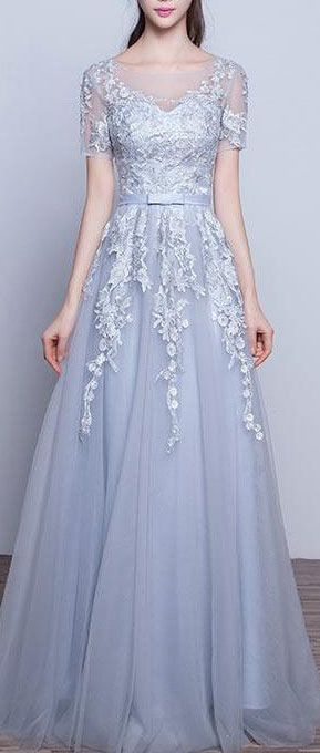 US$136.21-Beautiful Tulle Appliqued Grey Long Prom Dress with Sleeves. https://www.newadoringdress.com/appliques-tulle-stuning-new-arrival-p331280.html.  Free Shipping! NewAdoringDress.com selected the best prom dresses, party dresses, cocktail dresses, formal dresses, maxi dresses, evening dresses and dresses for teens such as sweet 16, graduation and homecoming. #prom #dress