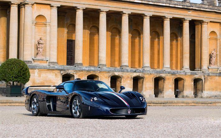 تحميل خلفيات مازيراتي MC12, سباق السيارات, سيارة رياضية, الأزرق MC12, الإيطالية للسيارات الرياضية, مازيراتي