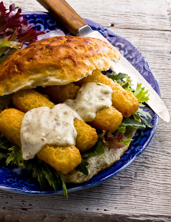 Fish finger sandwich with tartar sauce. I hope it's not just me who craves these sometimes!