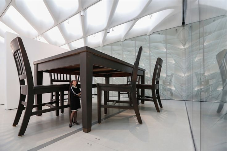 """Broad Museum - Installation of Robert Therrien's """"Under the Table,"""" 1994"""