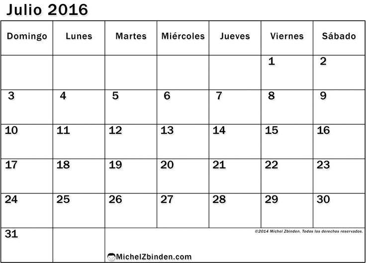 Calendario Julio 2016 Chile Con Feriados