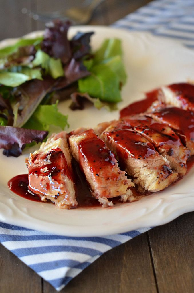 Raspberry Chicken - sauce: raspberry jam, chipotle peppers in adobo sauce, & spices on hand