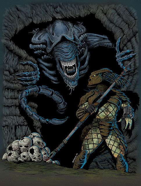 Alien vs Predator. 2010. Pen + Ink + Digital Color. Fan art by Pato Berroeta.