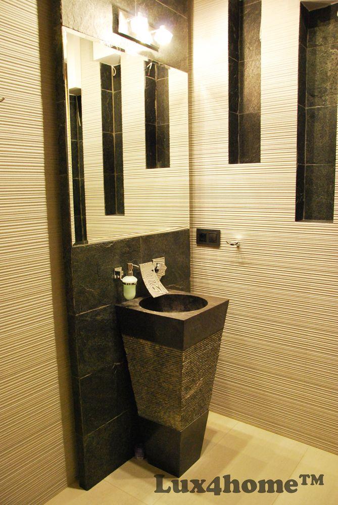 Czarna umywalka stojąca z kamienia naturalnego. Model CRL142 produkowany przez Lux4home™. Dostępny też w innych kolorach. Umywalka marmurowa.