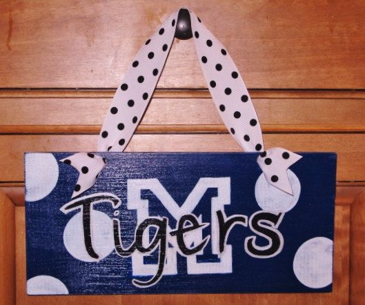 Tigers Hand Painted Polka Dot Wood Sign University by jessikennon, $15.00