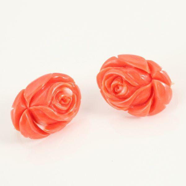 【GINZA PARIS】K18 珊瑚 耳环/38,000日元