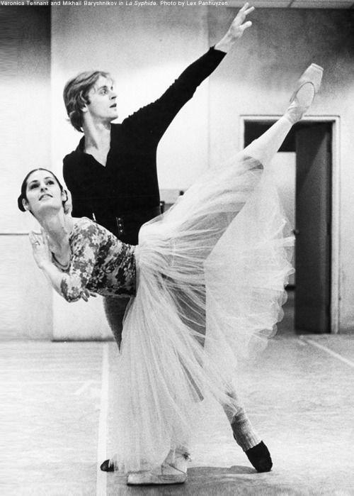 Throwback Thursday: Veronica Tennant and Mikhail Baryshnikov in rehearsal for La Sylphide, c. 1974.