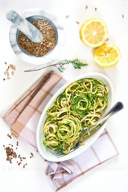 Spaghetti with zucchini pesto, and sunflower seeds