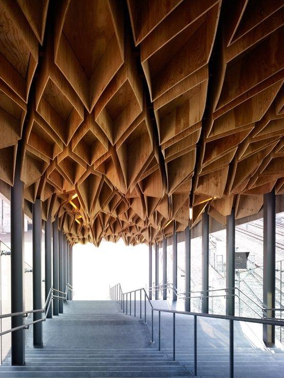 Hoshakuji Station, plywood ceiling 3D pattern. Kengo Kuma    Material Immaterial: The New Work of Kengo Kuma