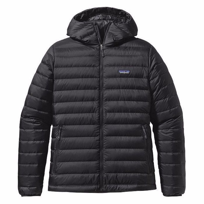 "Patagonia Down Sweater Hoody: Patagonia's range of goose down jackets are not only filled with repsonsibly sourced down but also made with an incredibly durable, 100% recycled, polyester ripstop which is highly water repellent. These jackets come up a little on the large size so we'd recommend sizing down. For example a 44"" chest will fit comfortably into the large. Durable shell fabric is made of 100% recycled polyester ripstop treated with a DWR (durable water repellent) finish…"