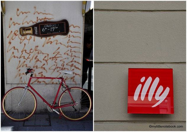 streets of trieste in italy, Illy coffee