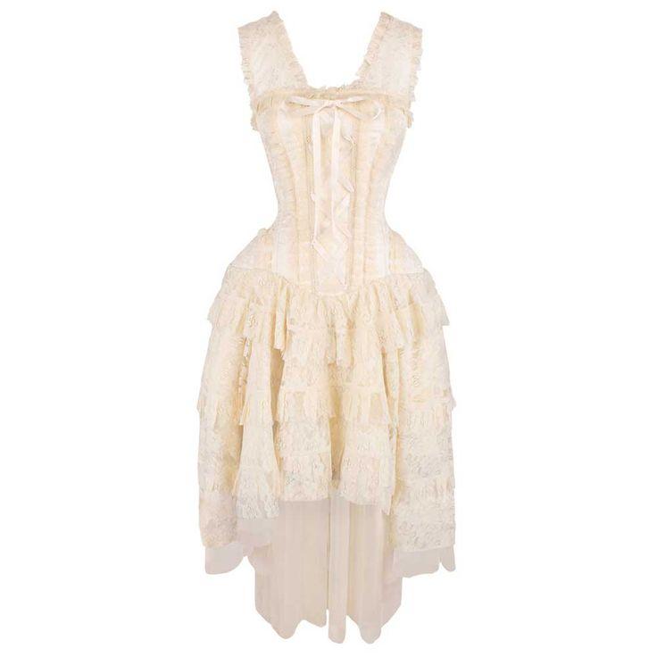 VG London Victoriaanse gelaagde korset jurk met kant en lint detail cr