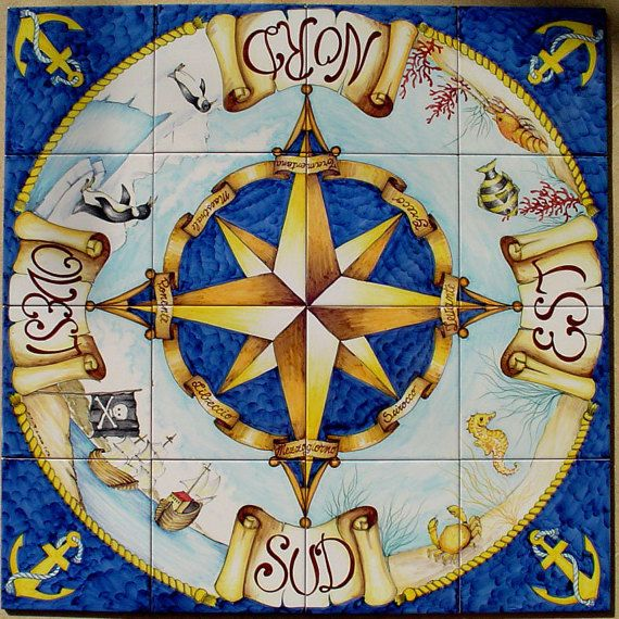 Hand Painted Compass Rose North Star Compass Wall Art