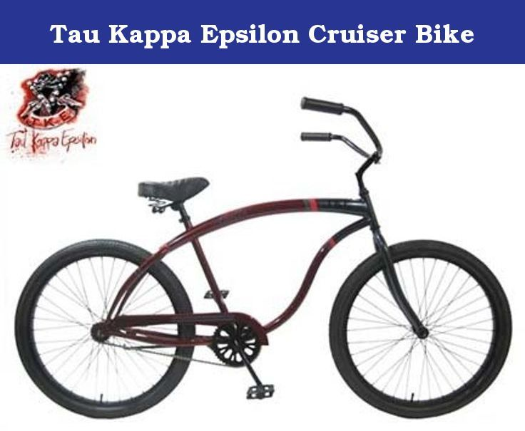 Tau Kappa Epsilon Cruiser Bike. The Collegiate Bicycle Company is proud to present our '08 line of officially licensed collegiate cruisers. Each bike is custom designed with the official school logos and colors and available in men's and women's models. CBC's classic cruisers are single speed, coaster brake bikes with an emphasis on style and simplicity, with all the modern amenities. Each bike comes with a free year subscription to Bicycling Magazine, and a lifetime frame warranty. They…