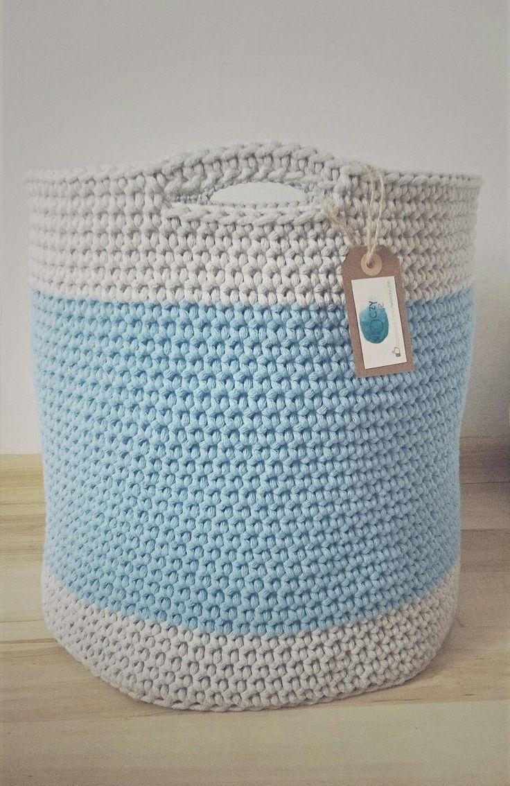Handmade crochet big basket / duży kosz szydełkowy / kosz na zabawki ze sznurka bawełnianego