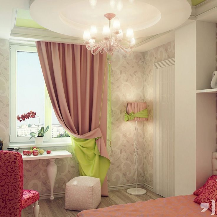 Teen room designs beautiful pink green cream curtain for for Pink teenage bedroom ideas