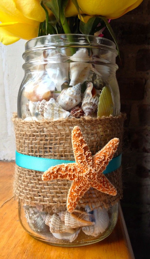 DIY Shell Vase. Plenty of small mason jars are here
