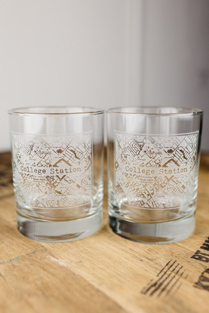 College Station College Town Rocks Glass Set