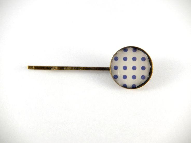 Barrette cabochon rétro pois bleus : Accessoires coiffure par creation-ninie