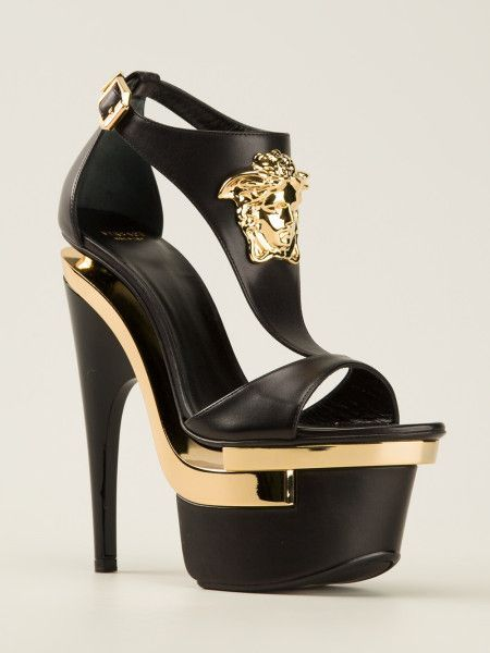 Versace Sculpted Platform Sandal in Black #heels #shoes #platforms
