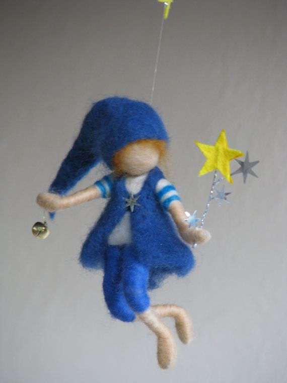Waldorf inspired needle felted mobile - Good night