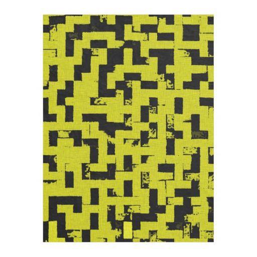 Grunge squares, black bricks yellow fabric pattern fleece blanket