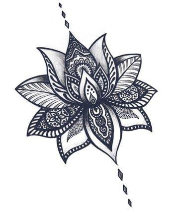 dibujos de flor de loto para tatuajes sencillo