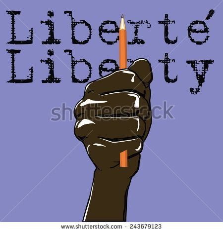 Vector fist with pencil. Liberty in French and English - stock vector   #art #attack #cartoon #charlie #france #freedom #hand #illustration #journalist #liberte #liberty #paris #peace #pencil #press #protest #suis #symbol #terrorism #vector