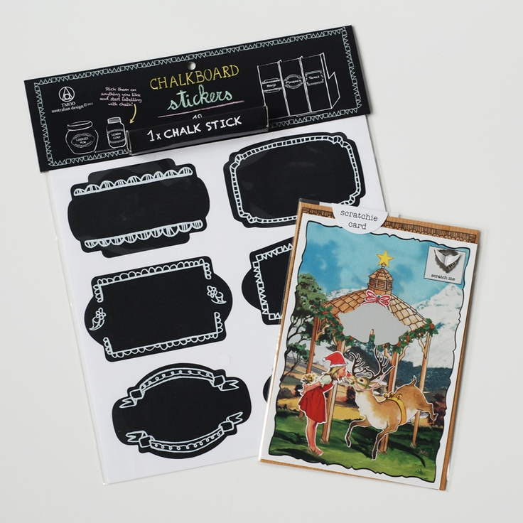 """An all in one solution to that Kris Kringle present, at a special price. A pack of 12 chalkboard stickers & Scratchie mistletoe gift card.  Use code """"early bird"""" on the website for an extra 20% off."""