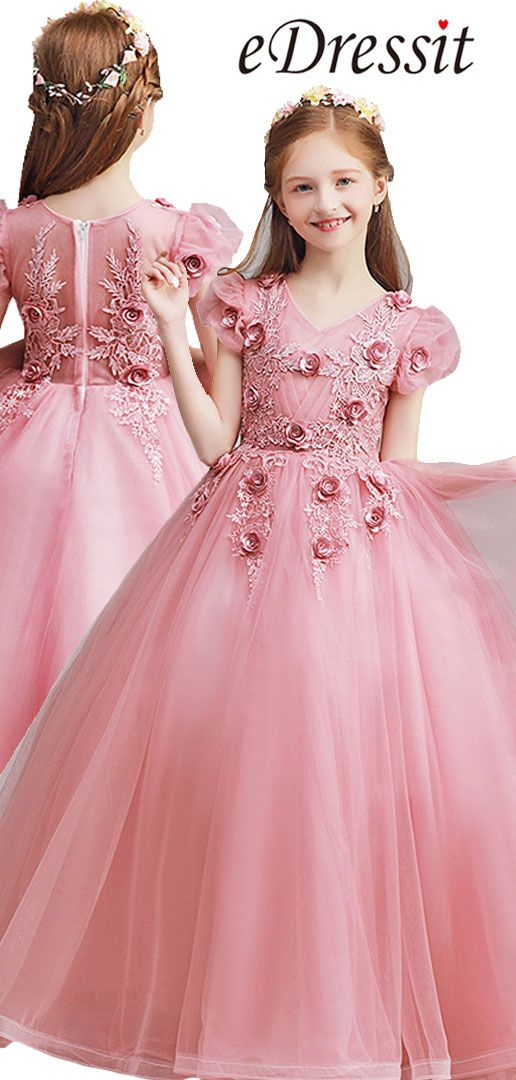 a493b2015 v neck pink color with flowers decorated princess ball skirt for wedding  and prom