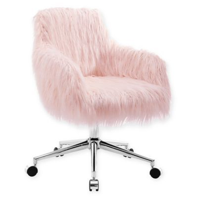 Personalize your workspace to perfection with the Fiona Faux Fur Office Chair from Linon Home. This unique twist on a bucket chair features fluffy faux fur upholstery that will truly bring something special, paired with a chrome base and rolling casters.