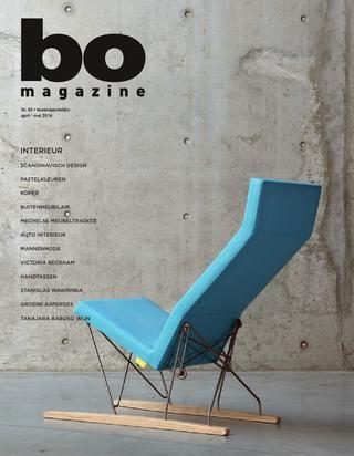 Editie 65   BO Magazine  BO Magazine interieur editie met artikels over Scandinavisch design, pastelkleuren, koper, buitenmeubilair, Mechelse meubeltraditie, auto interieur, mannenmode, Victoria Beckham, handtassen, Stanislas Wawrinka, groene asperges en Tanajara Baboso wijn.