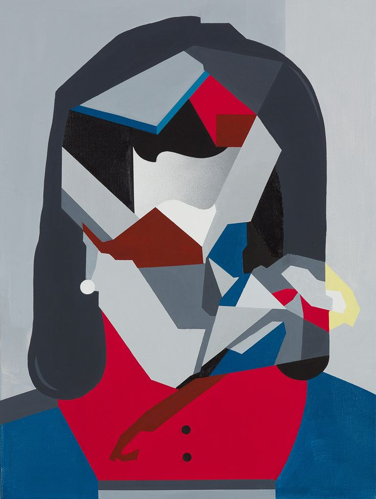 "Tobias Kroeger, ""New Love"" Acrylic on Canvas, 2016, 30x40cm - Cubist, Contemporary, Art, Painting, Geometric, Portrait"