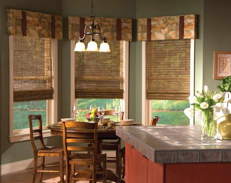 I love this for the feeling it gives me, great colors, warm and inviting.  Love the window treatment.  Would be great in my kitchen bay windows.  nice window treatments
