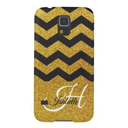 Glam Gold Glitter Chevron Samsung Galaxy S5 Case - glitter glamour brilliance sparkle design idea diy elegant