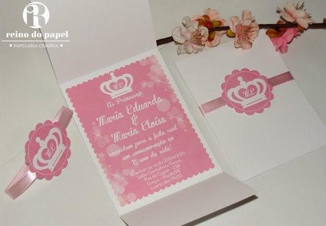 Convite Princesa, Convite Coroa, Convite Clássico