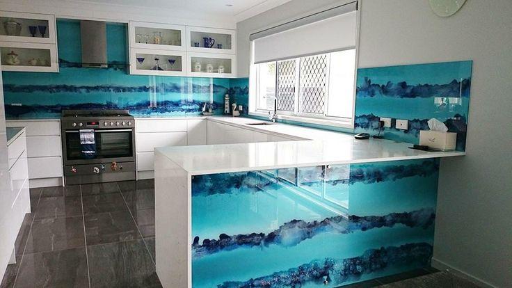 Kitchen Tiles Gold Coast tie dye glass kitchen splashback. http://www.voodooglass.au