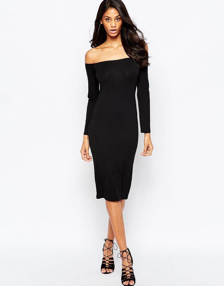 ASOS Long Sleeve Midi Bardot Bodycon Dress