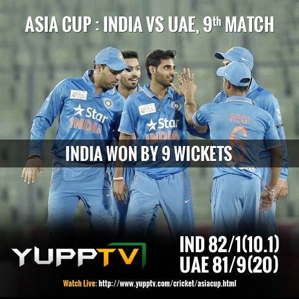 #INDvsUAE: Easy win for Team India.India won the match with 9 wickets and almost 10 overs remaining in hand. Rohit sharma, Shikhar Dhawan and Yuvraj Singh finish the match. After this India is facing host team Bangladesh at the #AsiaCupFinals on Mar 06. Catch tomorrow's match #PAKvsSL live on #YuppTV #AsiaCupOnYuppTV @ http://www.yupptv.com/cricket/asiacup.html