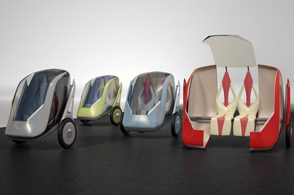 Cutie pod! This Segway style vehicle is a multifunctional transportation pod built for 2. Balanced on a movable joint arm, the Ayhanz Segway can be lowered for speed, linked with other vehicles of its type & even move like a roller coaster hanging from rails!     Designer: Mehdi Alamdari