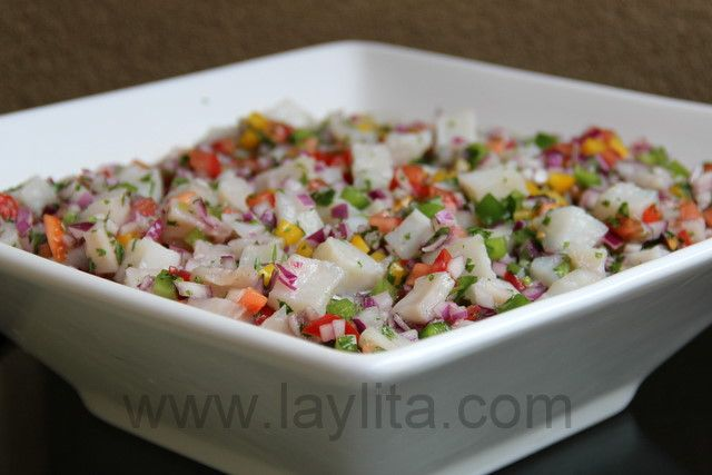 Ceviche...a delicious meal of raw fish that is cooked with the acid of limes and lemons with onion, cilantro and peppers