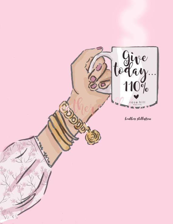 Give 110% Coffee Art Coffee Lovers by RoseHillDesignStudio