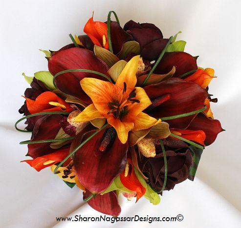 Sharon Nagar Designs Silk Latex Real Touch Custom Wedding Flowers Eggplant Burgundy Wine Merlot Green Orange Calla Orchid Rose C